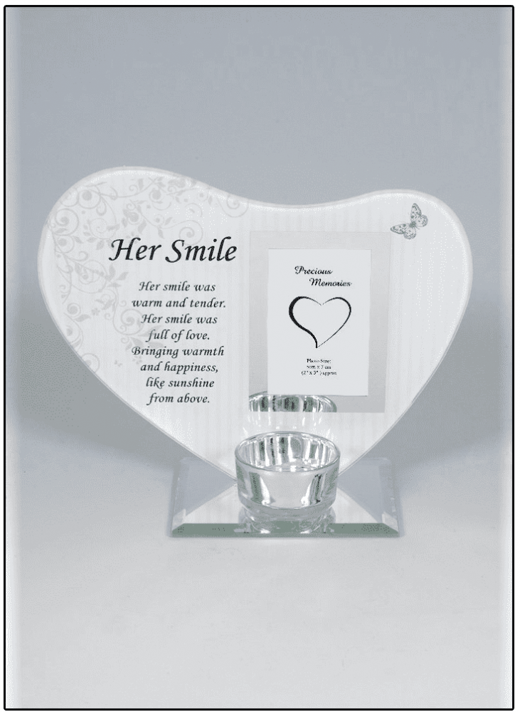 Her Smile plaque with t-lite and photo